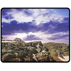 Mountain Snow Landscape Winter Double Sided Fleece Blanket (medium)