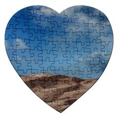 Sand Dune Desert Landscape Dry Jigsaw Puzzle (heart) by Celenk