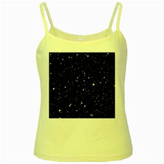 Black Background Texture Stars Yellow Spaghetti Tank by Celenk