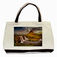 Nature Mountains Cliff Waterfall Basic Tote Bag
