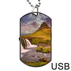 Nature Mountains Cliff Waterfall Dog Tag Usb Flash (one Side) by Celenk