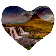 Nature Mountains Cliff Waterfall Large 19  Premium Flano Heart Shape Cushions by Celenk