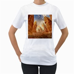 Canyon Desert Landscape Scenic Women s T Shirt (white) (two Sided) by Celenk