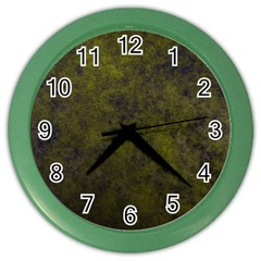 Green Background Texture Grunge Color Wall Clocks by Celenk