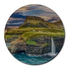 Coastline Waterfall Landscape Round Mousepads