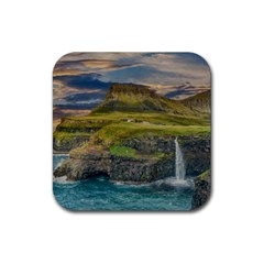 Coastline Waterfall Landscape Rubber Square Coaster (4 Pack)  by Celenk