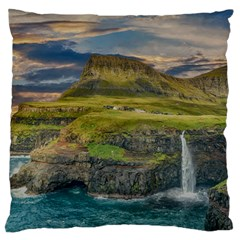 Coastline Waterfall Landscape Large Flano Cushion Case (two Sides) by Celenk
