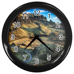 Nature Landscape Mountains Outdoor Wall Clocks (black) by Celenk