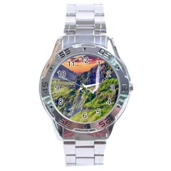 Waterfall Landscape Nature Scenic Stainless Steel Analogue Watch by Celenk