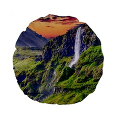 Waterfall Landscape Nature Scenic Standard 15  Premium Round Cushions by Celenk