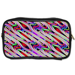 Multi Color Wave Abstract Pattern Toiletries Bags 2 Side by Celenk