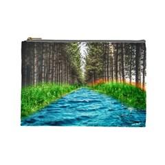 River Forest Landscape Nature Cosmetic Bag (large)  by Celenk