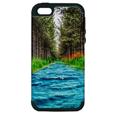 River Forest Landscape Nature Apple Iphone 5 Hardshell Case (pc+silicone) by Celenk