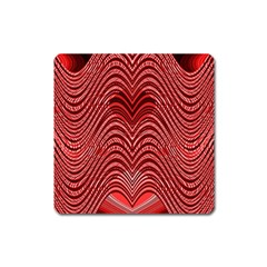 Red Wave Pattern Square Magnet