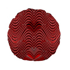 Red Wave Pattern Standard 15  Premium Flano Round Cushions by Celenk