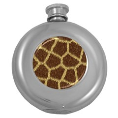 Background Texture Giraffe Round Hip Flask (5 Oz) by Celenk