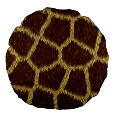 Background Texture Giraffe Large 18  Premium Flano Round Cushions by Celenk