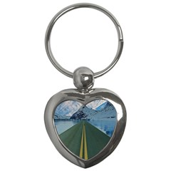 Road Ice Landscape Key Chains (heart)  by Celenk