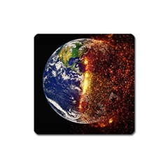 Climate Change Global Warming Square Magnet by Celenk