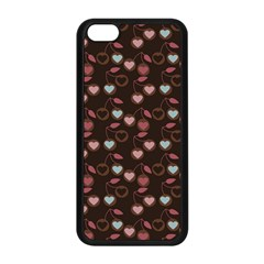 Heart Cherries Brown Apple Iphone 5c Seamless Case (black) by snowwhitegirl