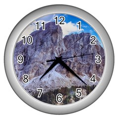 Rock Sky Nature Landscape Stone Wall Clocks (silver)  by Celenk