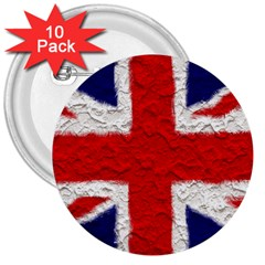 Union Jack Flag National Country 3  Buttons (10 Pack)  by Celenk