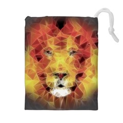 Fractal Lion Drawstring Pouches (extra Large) by Celenk