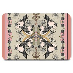 Vintage Birds Large Doormat  by Celenk