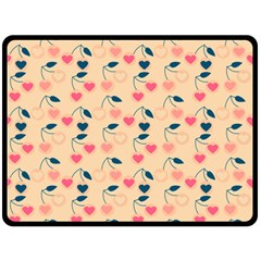 Heart Cherries Cream Double Sided Fleece Blanket (large)  by snowwhitegirl
