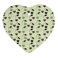 Heart Cherries Mint Heart Ornament (two Sides) by snowwhitegirl