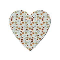 Heart Cherries Grey Heart Magnet by snowwhitegirl