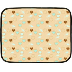 Beige Heart Cherries Fleece Blanket (mini) by snowwhitegirl