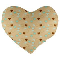 Beige Heart Cherries Large 19  Premium Heart Shape Cushions by snowwhitegirl