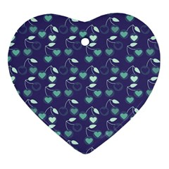 Heart Cherries Blue Heart Ornament (two Sides) by snowwhitegirl
