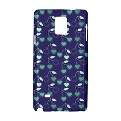 Heart Cherries Blue Samsung Galaxy Note 4 Hardshell Case by snowwhitegirl
