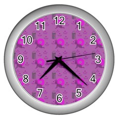 Punk Baby Violet Wall Clocks (silver)  by snowwhitegirl