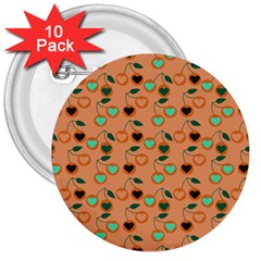 Peach Cherries 3  Buttons (10 Pack)