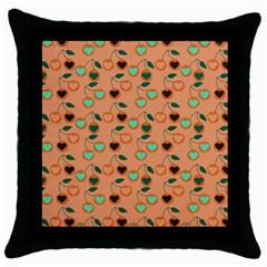 Peach Cherries Throw Pillow Case (black) by snowwhitegirl