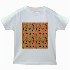 Peach Cherries Kids White T Shirts