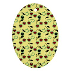 Yellow Heart Cherries Ornament (oval) by snowwhitegirl