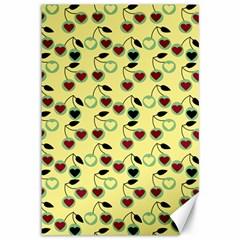 Yellow Heart Cherries Canvas 12  X 18   by snowwhitegirl