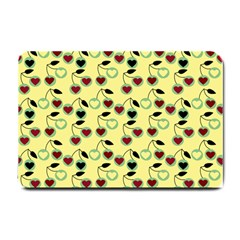 Yellow Heart Cherries Small Doormat  by snowwhitegirl