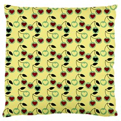 Yellow Heart Cherries Large Flano Cushion Case (two Sides) by snowwhitegirl