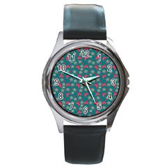 Teal Hats Round Metal Watch by snowwhitegirl