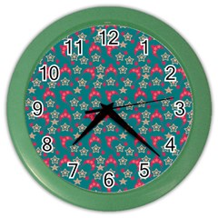 Teal Hats Color Wall Clocks