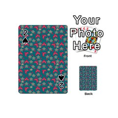 Teal Hats Playing Cards 54 (mini)  by snowwhitegirl