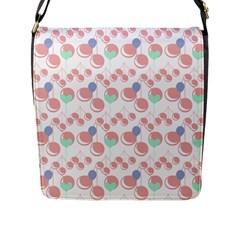 Bubblegum Cherry White Flap Messenger Bag (l)  by snowwhitegirl
