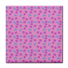 Pink Star Blue Hats Tile Coasters