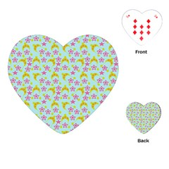 Blue Star Yellow Hats Playing Cards (heart)  by snowwhitegirl