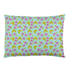 Blue Star Yellow Hats Pillow Case (two Sides) by snowwhitegirl